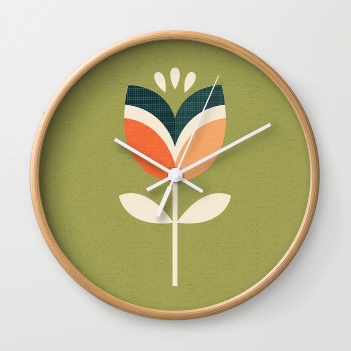 Retro Tulip Orange And Olive Green Wall Clock By Daisybeatrice