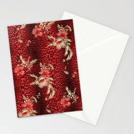 Wild Red Leopard and Flowers Stationery Cards