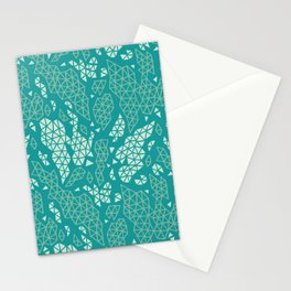 Teal Fragmented Fragments Stationery Cards