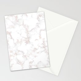 Rose Gold Marble Natural Stone Gold Metallic Veining White Quartz Stationery Cards
