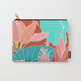Coral Ginger Flowers + Elephant Ears in Rust Carry-All Pouch