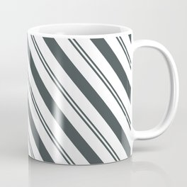 PPG Night Watch Pewter Green  and Dark Green Stripes Angled Lines Coffee Mug