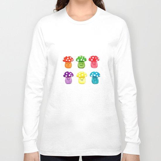 cute mushroom emoji watercolor painting  Long Sleeve T-shirt