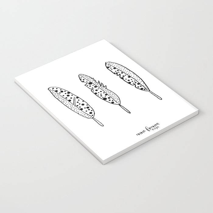 Black and White Spotted Feathers by Emma Freeman Designs Notebook