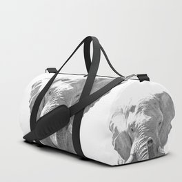 Black and white elephant illustration Duffle Bag