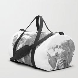 Black and white elephant illustration Duffle Bag