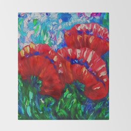 3 Poppies  by Lena Owens Throw Blanket