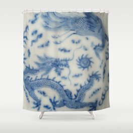 Damask vintage Monaco blue white girly ginger jar floral antique chinese dragon chinoiserie china Shower Curtain