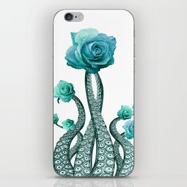 Blue Rose with Octopus Tentacles Art Print iPhone Skin