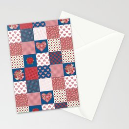 Hearts and Roses Faux Patchwork Stationery Cards