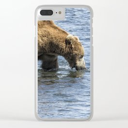 Brown Bear Going for a Dip Clear iPhone Case