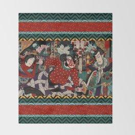 Kabuki Samurai Warriors Throw Blanket