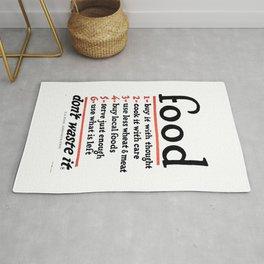 Don't Waste Food WWI World War I Poster Rug