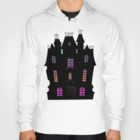 haunted mansion Hoodies featuring Haunted Silhouette Rainbow Mansion by rainbowdreams