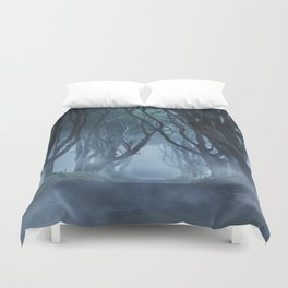 Very cold foggy morning at Dark Hedges Duvet Cover
