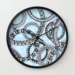 Black and White Zendoodle Rings on Blue  Wall Clock