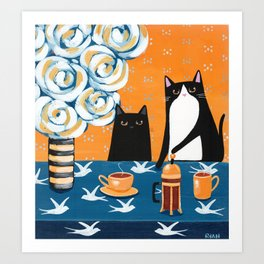 Orange and Blue French Press Cats Art Print