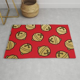Jingle Bells Christmas Pattern in Gold & Red Rug