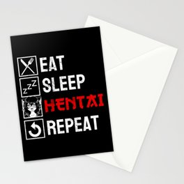 Eat Sleep Hentai Repeat Neko Anime Cat Girl Ahegao Stationery Cards