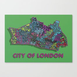 City of London  London Boroughs - Colour Canvas Print