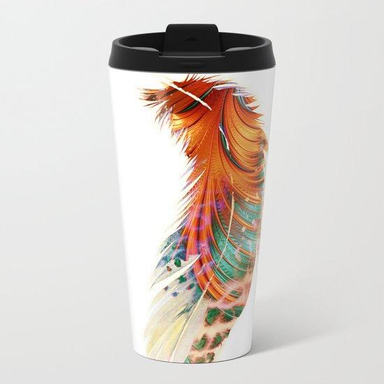 Feathered Feather Metal Travel Mug