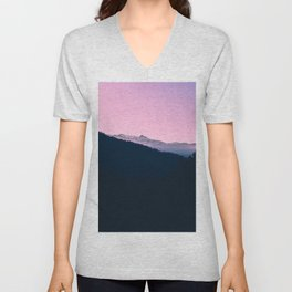 Pink Sunset Rolling Hill Silhouette Landscape Photo Unisex V-Neck