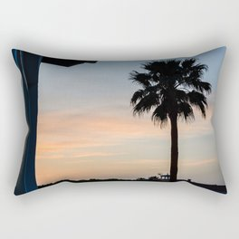 Contrasting photograph of a palm tree at sunset in Menorca Rectangular Pillow