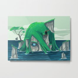 The wanderer and the ancient island Metal Print