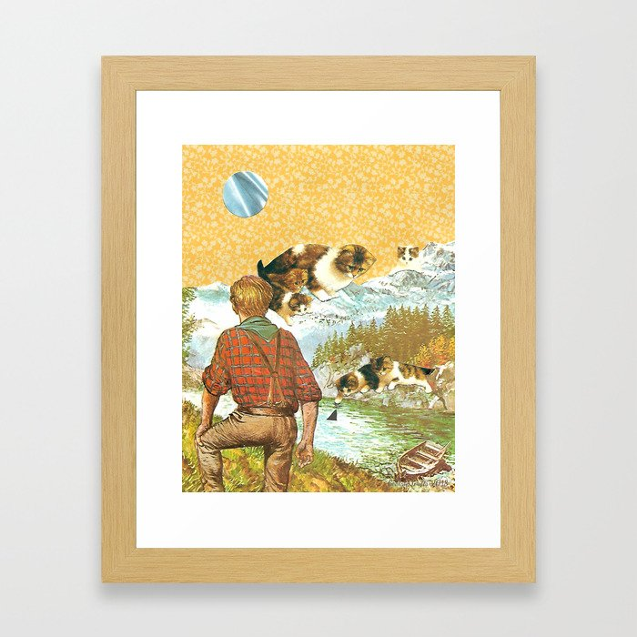 Don't Go Into the Water handcut collage Framed Art Print