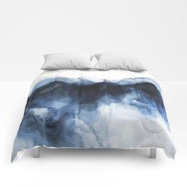 Abstract Indigo Mountains Comforters