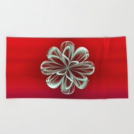 Cyan Bloom on Red Beach Towel