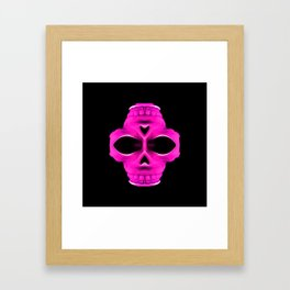 pink psychedelic skull portrait with black background Framed Art Print