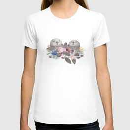 Sea Otters Holding Hands, Love Art T-shirt