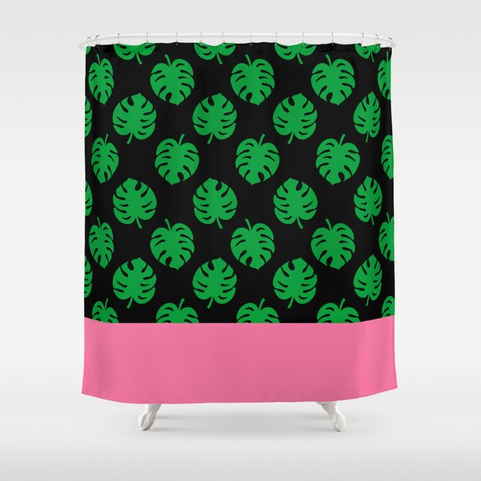 Philodendrons Pattern - Green on Black Shower Curtain by xooxoo ...