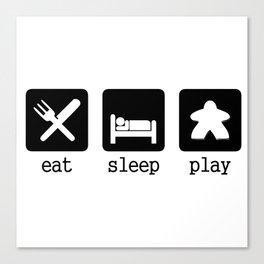 Eat, sleep, play Canvas Print