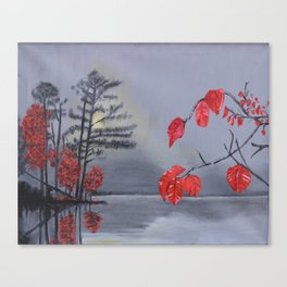 Red by the Lake Canvas Print