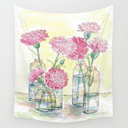 Pink Carnations, Still Life Wall Tapestry