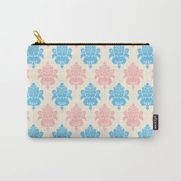 Coral blue ivory vintage chic floral damask pattern Carry-All Pouch