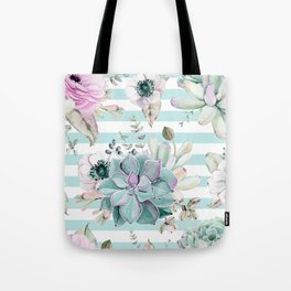 Succulents in the Garden Succulent Blue Stripes Tote Bag