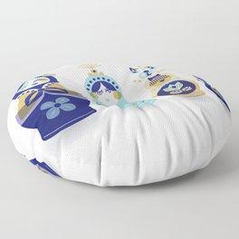 Russian Nesting Dolls – Blue & Gold Floor Pillow