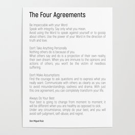 The Four Agreements #blackwhite #minimalism Poster