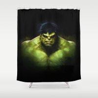 hulk Shower Curtains featuring Hulk by DisPrints