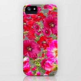 AWESOME FUCHSIA  RED HOLLYHOCKS GARDEN GREY ART iPhone Case