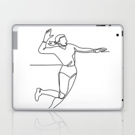 Volleyball Player Striking Ball Continuous Line Laptop & iPad Skin