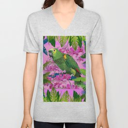 TROPICAL GREEN PARROT JUNGLE ART  ART DESIGN Unisex V-Neck