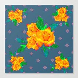 Teal Color Golden Roses Bouquet Patterns Canvas Print