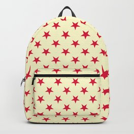 Crimson Red on Cream Yellow Stars Backpack