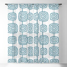 Mid Century Modern Atomic Rings Pattern Peacock Blue 3 Sheer Curtain