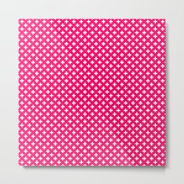 Small White Crosses on Hot Neon Pink Metal Print