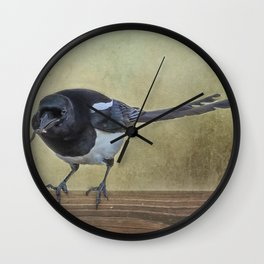 Magpie with a Worm Wall Clock